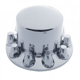 Axle Cover Rear/Drive Chrome Plastic Dome Screw-on Nut Covers suits PCD 285mm (American Wheels)